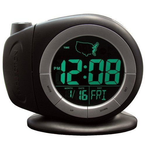 Elgin Electric Lcd Projection Alarm Clock With Time Ready Technology, Black New