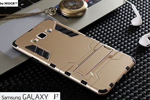 J7 Case {Gold} Shock-Absorption with Kickstand Hybrid Dual Layer SLiM Armor Defender Full Body Protective Back Case Cover for Samsung Galaxy J7 Back Cover Case + Get Designer Metal Tin FREE!