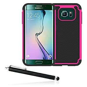 Galaxy S6 Edge Case Otter Hybrid Dual Layer [With Stylus Pen] Cover for Samsung Galaxy S6 Edge 2015 Edition - (Fucshia)