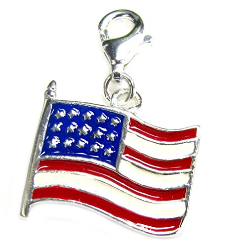 Queenberry Sterling Silver America Flag God Bless Enamel European Style Clasp Charm