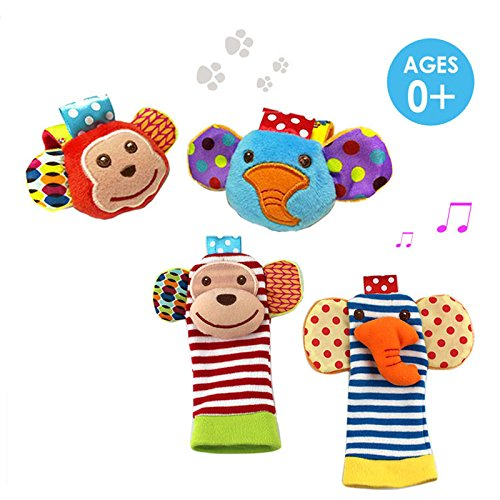 SKK Baby 4 Animal Wrist Rattle and Foot Finder Socks Set Development Toys Gift For Infant Boy Girl