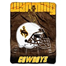 "NCAA Wyoming Cowboys 60-Inch-by-80-Inch Micro Raschel Blanket, ""Overtime"" Design"