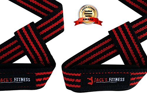 Jack's Fitness® Padded Lifting Straps for Weight Lifting - Deadlift - Seated Row - Red and Black (Hit Lift Jack compare prices)