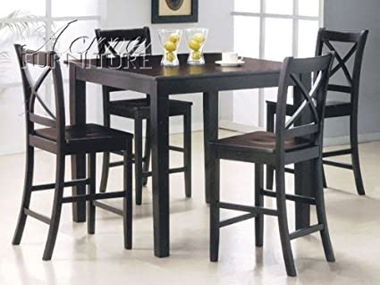 5-pc Pack Martha Design Counter Height Dining Table Set in Espresso Finish ACS70550