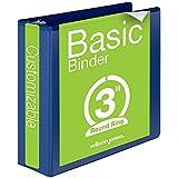 Wilson Jones Round Ring View Binder, 3 Inch, Basic, 362 Series, Customizable, Dark Blue (W362-49BL)