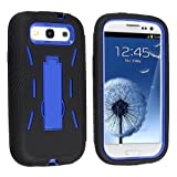 Black and Blue Kickstand Hybrid Silicon Rubber Gel Hard Plastic Cover Case w/ Stand for Samsung? Galaxy S3 III I9300 L710 I535 I747 T999 (Sprint Verizon At&t T-mobile)
