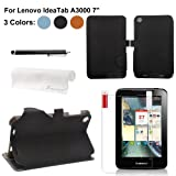 Foxnovo 4-in-1 PU Flip Case Stylus Pen Screen Guard Cloth Set for Lenovo IdeaTab A3000 7-inch Tablet PC (Black)