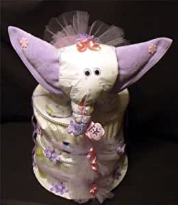 Baby Shower Elephant Theme Diaper Cake Decorations Jungle Safari Purple Lavender for Girl Neutral Diapering Gift Set Size 1 Diapers Newborn