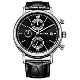 HOWK Chronograph Watches for Men Date Analog with Black Leather Band