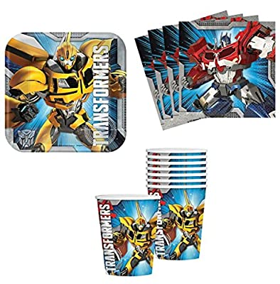Transformers Birthday Party Supplies Set Plates Napkins Cups Kit for 16