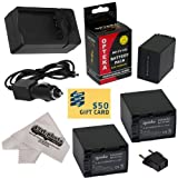3 Opteka NP-FV100 4500mAh Ultra High Capacity Li-ion Battery Packs 4500mAh Each, 13500mAh in Total + Rapid AC/DC Battery Charger For the Sony MC50, NX30, NX70, TD10, TD20, TD30, HC9, VG10, VG20, VG900, AX100 Video Camera Camcorder includes 47stphoto Micr