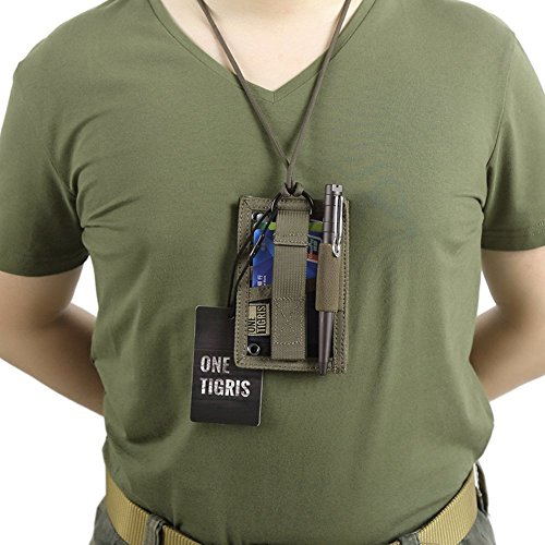 OneTigris Tactical ID Card Holder Velcro Patch Badge Holder Neck Lanyards Key Ring and Credit Card Organizer