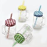 4er Set Vintage Trinkglas mit Karo Deckel und Strohhalm