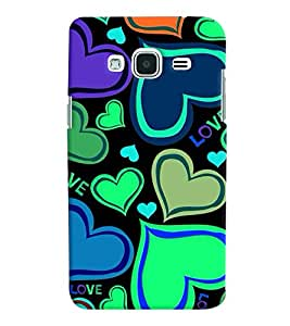 Printvisa Hearts Pattern In Flourscent Colours Back Case Cover for Samsung Galaxy J2 (2016)