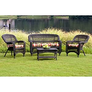 Portside 4 Piece Seating Group Fabric Color: Muana Loa Hibiscus, Finish: Dark Roast