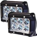 "LotFancy® 2x 18W 4"" inch 6-Cree LED SUV Off-road Boat Headlight Spot Driving Fog Light + Mounting Bracket (2X Spot Beam 18W)"