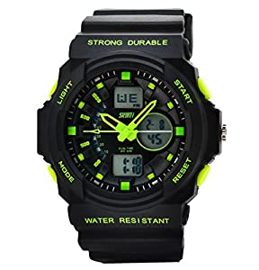 Women's Fashion Sports Multi-Function Electronic Waterproof Watch(Green)