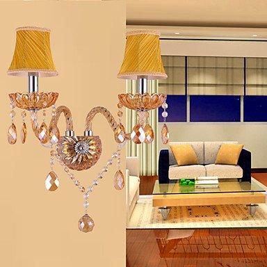 Artisitc applique murale avec 2 nuances de tissu 2 feux jaunes cristal fonction de lustre