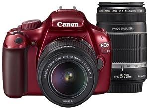 Canon デジタル一眼レフカメラ EOS Kiss X50 レッド ダブルズームキット KISSX50RE-WKIT