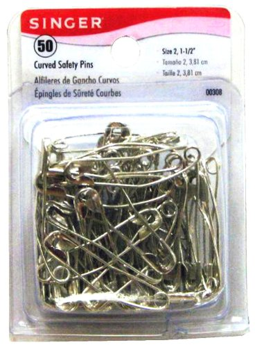 Singer Curved Safety Pins, 50 Count