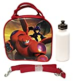 New 2014 Hit Movie Disney Big Hero 6 Baymax Hero Lunch Box Bag w/ Shoulder Strap + Water Bottle - Red