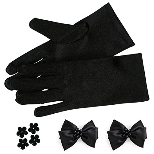 kilofly-Satin-Child-Size-Short-Formal-Gloves-DIY-Matching-Bow-4-Flower-Patches