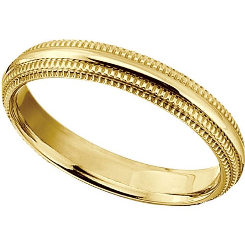 Titanium Comfort Fit Gold IP Double Milgrain Band Size 6