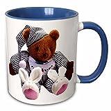Florene Children s Art - Teddy Bear - 11oz Two-Tone Blue Mug (mug_33198_6)