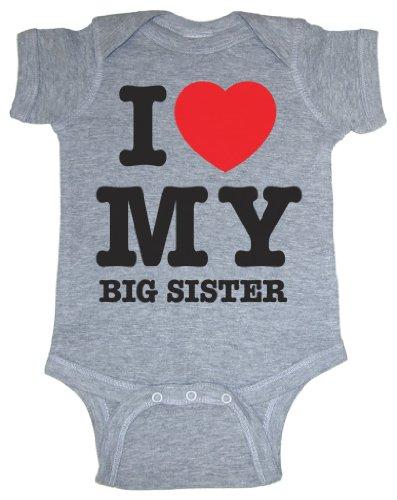 So Relative! I Love My Big Sister (Red Heart) Heather Grey Baby Bodysuit (Heather Gray, Newborn) front-943998