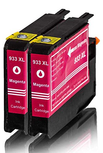 Premium 2er Pack Tintenpatronen für HP 933XL , 933 XL , CN055AE , CN 055AE HP Hewlett Packard Officejet 6100 6600 6700 kompatibel (Magenta/Rot)