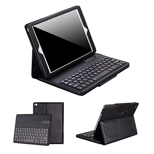 Ewin® iPad Air ケース iPad Air2 ケース ワイヤレス キーボード Bluetooth3.0搭載 分離式 キーボードケース PUレザー素材 スタンド機能付き US配列 保護ケース 【日本語説明書付き、一年安心保証】(ブラック)