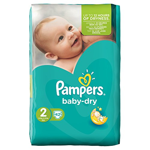 Pampers, Pannolini Baby Dry, misura 2 (3 - 6 kg), 2 confezioni (2 x 42 pz.)