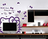 Liroyal Purple Hello Kitty Girls Bedroom Wall TV Car Stickers from Wall Stickers Warehouse Background sticker