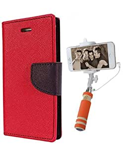 Aart Fancy Diary Card Wallet Flip Case Back Cover For Motorola Moto E2 -(Red) + Mini Aux Wired Fashionable Selfie Stick Compatible for all Mobiles Phones By Aart Store