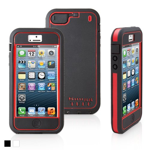 Snugg iPhone 5 /5S Tuff Case in Black and Red - High Quality Slim Profile Non Slip, Protective and Soft to touch for Apple iPhone 5 / 5S