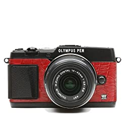 Olympus Pen E-p5 Camera Leather Decoration Sticker Crocodile Red 8020 Made in Japan