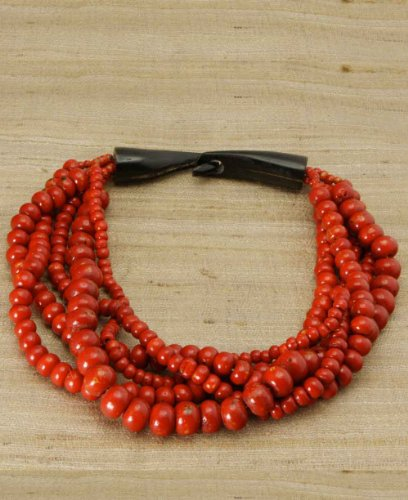 Tibetan Jewelry: Five Strand Beaded Necklace With Bone Clasp