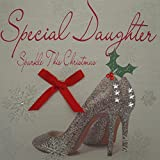 White Cotton Cards Special Daughter Sparkle This Christmas Handmade Card in Shoes Design
