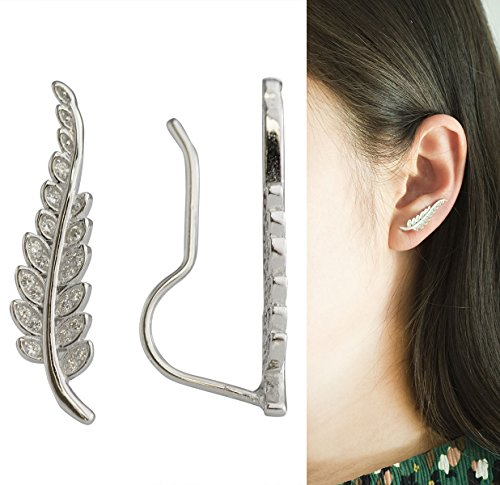 CIShop-Orecchini Ear Cuff Scalatore Crawler zircone diamante in argento Sterling ipoallergenico