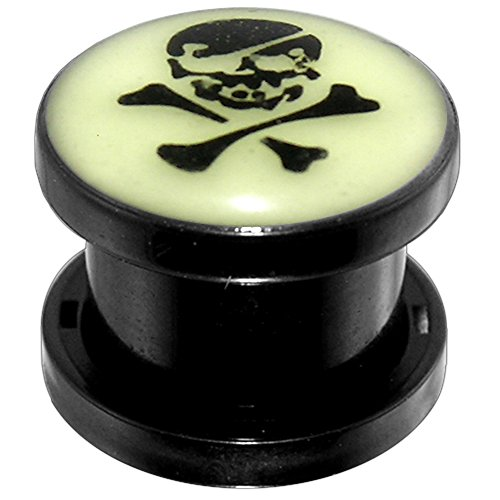 8MM Danger Skull Glow in the Dark Logo Black UV Fit Ear Flesh Tunnel Body jewelry