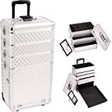 33.25 inch 4 in 1 Silver Diamond Aluminum Finish Travel Rolling Wheeled Professional Makeup Organizer Trolley w/ 3 Detachable Trays + 3 Aluminum Drawers by MyGift