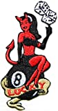 8 Eight Lucky Number Pool Ball Sexy Devil Lady Rider Hog Outlaw T-Shirt jacket Patch Sew Iron on Embroidered Sign Badge Logo