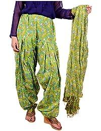 Bottomline Women Printed Solid Cotton Full Green Patiala Salwar Dupatta Set(Free Size,Multi Color) - B01GO6NXOS