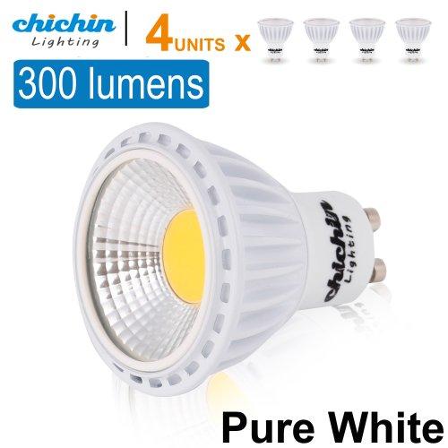 Chichinlighting® Pack Of 4 Units Cob Led Gu10 Bulbs 3 Watts 300 Lumens Super High Efficient Highest Lumens/Watt Pure White Cool White 45 Degree Lighting Angle