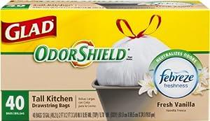 Glad OdorShield Tall Kitchen Drawstring Vanilla Trash Bags, 13 Gallon, 40 Count