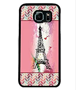 PRINTVISA Effeal Tower with pattern Premium Metallic Insert Back Case Cover for Samsung Galaxy S6 Edge - D5814