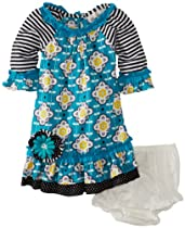Rare Editions Baby Girls Infant Print Dress, Aqua, 12 Months