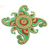 Handicraft Designer Rangoli - Jewel Stone Decorations Of Gold, Red, Silver Accents On Dolphin Motifs With Center Piece - Green Base Color - 16 Inch Dia - 9 Piece Set - Packed In Sturdy Crystal Box