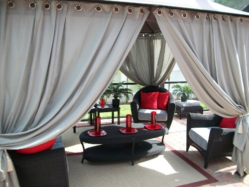 Outdoor Gazebo Patio Drapes Cool Gray (42