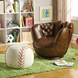 Brand New 32.5''x 32.5''x 27.5''H Baseball Glove Chair And 17'' Dia.x 13''H Baseball Ottoman Set